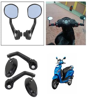 Capeshoppers Bike Handle Bar End Rotatable Rear View Mirror For Hero MotoCorp Pleasure Scooty