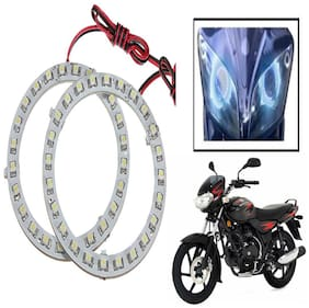 Capeshoppers Angel Eyes LED Ring LIGHT For Bajaj DISCOVER DTSI- Blue Set Of 2