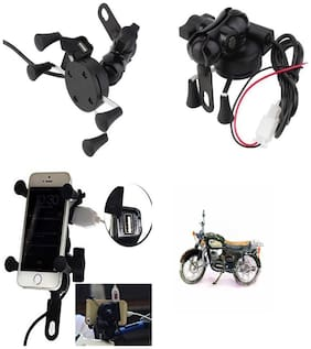 Capeshoppers Spider Mutifunctional Mobile Holder with USB Charger For Yamaha RAJDOOT
