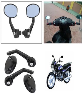 Capeshoppers Bike Handle Bar End Rotatable Rear View Mirror For Hero MotoCorp Splendor Pro