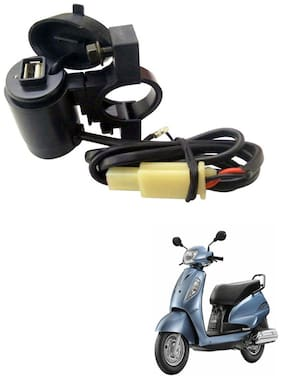 Capeshoppers Waterproof Bike USB Mobile Charger For Suzuki Access 125 Scooty