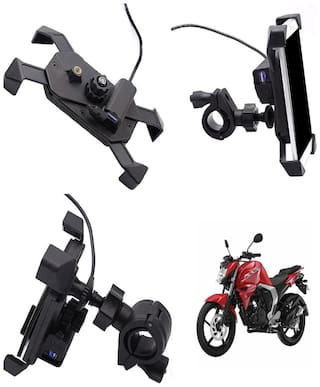 Capeshoppers stylish clip grip Mobile holder with usb For Yamaha Fazer FI