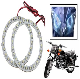 Capeshoppers Angel Eyes LED Ring LIGHT For Royal Enfield BULLET 350- Blue Set Of 2