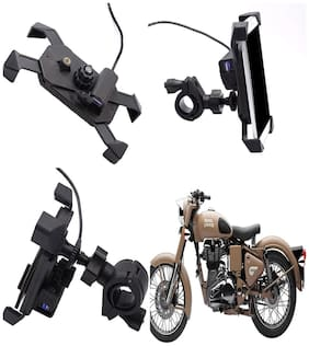Capeshoppers stylish clip grip Mobile holder with usb For Royal Enfield Bullet Electra Standard