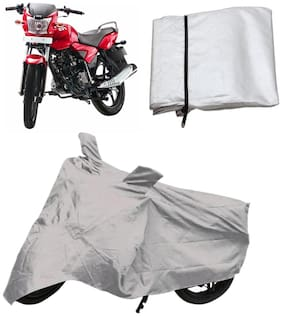 Capeshoppers Bike Body Cover Silver For Tvs Jive