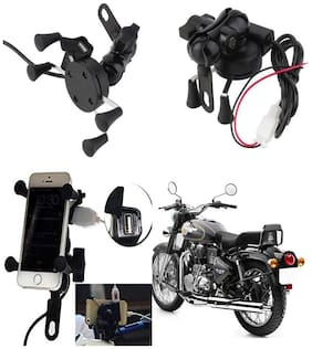 Capeshoppers Spider Mutifunctional Mobile Holder with USB Charger For Royal Enfield BULLET 500