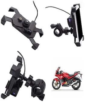 Capeshoppers stylish clip grip Mobile holder with usb For Hero MotoCorp Karizma ZMR 223