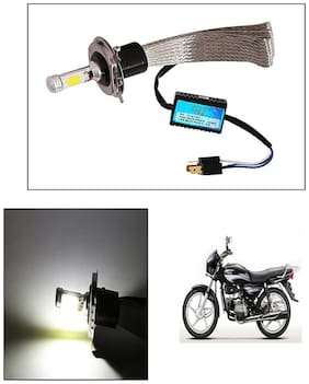 Capeshoppers Peacock Design High Power Cob Led Headlight For Hero MotoCorp HF Deluxe