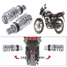 Capeshoppers Spring Coil Style Bike Foot Pegs Set Of 2 For Honda Dream Neo-Chrome