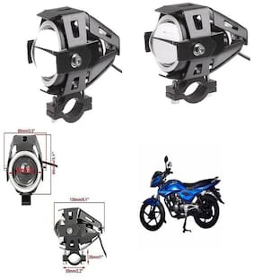CAPESHOPPERS U7 Led Bike Driving Drl Fog Light Spotlight;High/Low Beam;Flashing-With Blue Angel Eyes Light Ring (Pack Of 2) For Bajaj XCD 135CC