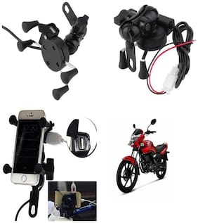 Capeshoppers Spider Mutifunctional Mobile Holder with USB Charger For Honda Stunner CBF