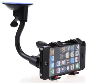 Capnicks Soft Tube Car Mobile Holder With Suction Cup (Black)