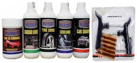 CAR 5X RUBBING POLISH 250ml+ DASHBOARD SHINER 250ml+ TYRE SHINER 250ml+ LEATHER SHINER 250ml+CAR SHAMPOO 250ml+ Tubelass smart Panchar Kit.