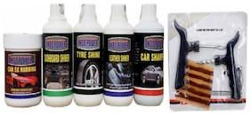 CAR 5X RUBBING POLISH 250ml+ DASHBOARD SHINER 250ml+ TYRE SHINER 250ml+ LEATHER SHINER 250ml+CAR SHAMPOO 250ml+ Tubelass smart Panchar Kit.