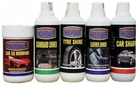 CAR 5X RUBBING POLISH 250ml.+ DASHBOARD SHINER 250ml.+ TYRE SHINER 250ml.+ LEATHER SHINER 250ml.+CAR SHAMPOO 250ml.