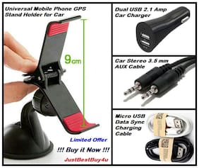 Car Accessories Combo Set of Mobile Holder + Dual USB Car Charger + Aux Cable + Micro USB Charge Cable
