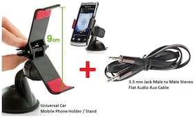Car Accessories Combo Set of Car Mobile Phones GPS Holder Stand + 3.5mm Flat Stereo Audio Aux Cable