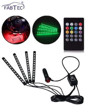 CAR Atmosphere LED Lights 4pcs 48 LED DC 12V Multicolor Music Car Strip Light Interior LED Under Dash Lighting Kit with Sound Active Function