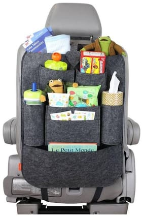 Car Backseat Organizer with Tablet Holder for Kids and Toddlers Pockets, Strong Buckles - Use as Seat Back Protector (Pack of ) Black Color