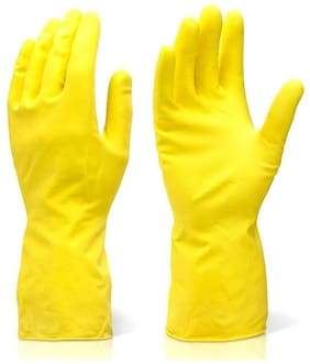 Car Bike Cleaning Rubber Gloves Chemical Resistance Rubber Hand Gloves Yellow -1 Pair