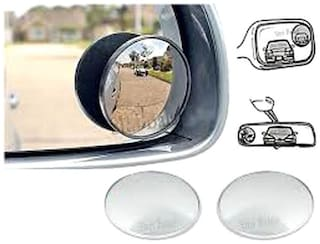 Car Blind Spot Convex Rear View Mirror Chrome Corners
