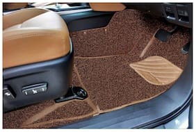 Car Foot Mat 7D Curly Custom Fitted Car Mats For Mahindra Scorpio - Tan Black