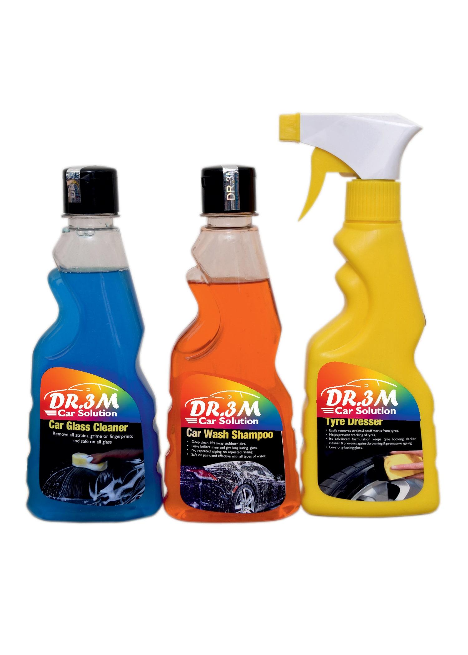CAR GLASS CLEANER 250ml.+ CAR TYRE POLISH 250ml.+ CAR WASH SHAMPOO 250ml. by DR3M