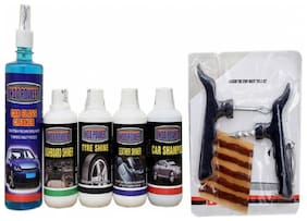 CAR GLASS CLEANER 500ml+ DASHBOARD SHINER 250ml+ TYRE SHINER 250ml+ LEATHER SHINER 250ml+CAR SHAMPOO 250ml+ Tubelass smart Panchar Kit.