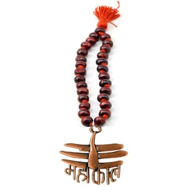 Car Ornament, Rearview Car Mirror Charm, Car Hanging, Copper Jai mahakaal Wooden Chandan Mala Decorative Showpeace