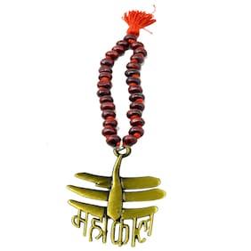 Car Ornament, Rearview Car Mirror Charm, Car Hanging,  Antique Jai mahakaal Wooden Chandan Mala Decorative Showpeace