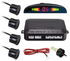 Car Reverse Backup Radar System with 4 Parking Sensors Distance Detection + LED Distance Display For (All Cars Black)