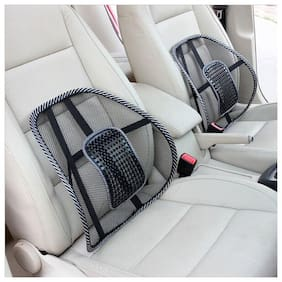 Car Seat Chair Massage Back Lumbar Support (2Pc) Black