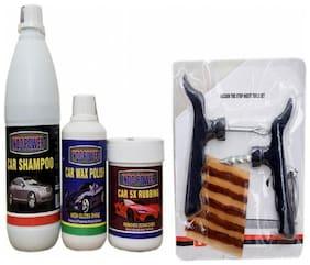 CAR SHAMPOO 500ml+ CAR 5X RUBBING POLISH 250ml+ CAR WAX POLISH 250ml+ Tubelass smart Panchar Kit.