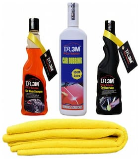 CAR WASH SHAOO 250ml.+CAR WAX POLISH 250ml.+CAR RUBBING 200gm.(60gm EXTRA)+MICROFIBER CLOTH (YELLOW).
