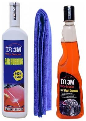 CAR WASH SHAOO 250ml.+CAR RUBBING 200gm.(60gm EXTRA)+MICROFIBER CLOTH (BLUE).
