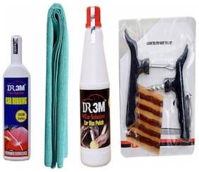 CAR WAX POLISH 500ml.+CAR RUBBING 100g(30 g EXTRA)+MICROFIBER CLOTH (GREEN). + Panchar kit ( Master combo Pack)