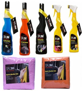 CAR WAX POLISH 250ml.+ TYRE POLISH 250ml.+ CAR GLASS CLEANER 250ml. + CAR WASH SHAMPOO 250mL.+ LEATHER DRESSER POLISH 250ml.+ 2PC (ORANGE+PINK) CAR MICROFIBER CLOTH.
