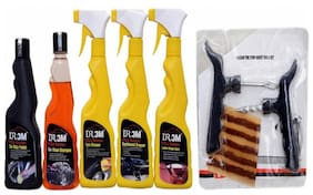 CAR WAX POLISH 250ml. + CAR WASH SHAMPOO 250mL.+ TYRE DRESSER POLISH 250ml.+ CAR DASHBOARD DRESSER POLISH 250ml. + CAR LEATHER POLISH 250mL. + Panchar kit ( Master combo Pack)