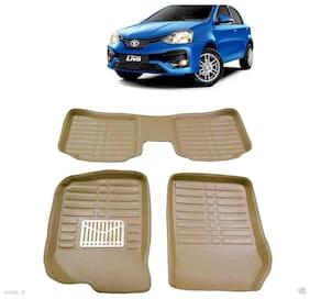 Carhatke-3D Leathride Texured Floor Mats For Toyota Etios Liva - Beige
