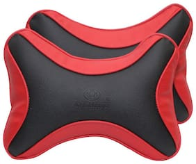 CARMATE Car Seat Neck Cushion Pillow - Set of 2 (Black & Red)