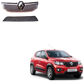 Carsaaz Bentley Type Front Chrome Grill For Renault Kwid set of 2 pcs (upper+lower)