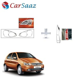 Carsaaz Head Light & Tail Light Molding Chrome Combo for Tata Indica type-3