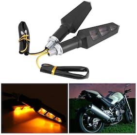 Cartronics - 12V Amber LED Flexible Non Breakable Motorcycle Bike Turn Signal Indicators Light Turning Lamps For All Bikes Pack Of 2