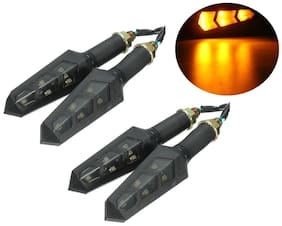 Cartronics - 12V Amber LED Flexible Non Breakable Motorcycle Bike Turn Signal Indicators Light Turning Lamps For All Bikes Pack Of 4