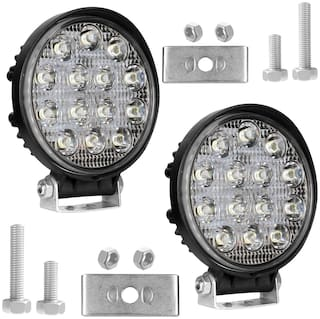 Cartronics 14 LED Round 42 watt Waterproof Fog Light Pack Of 2 for All Bikes And Cars White