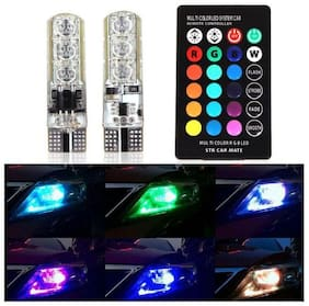 Cartronics 2PC T10 LED RGB Car Interior Fancy/Parking Remote Control Light For All Cars