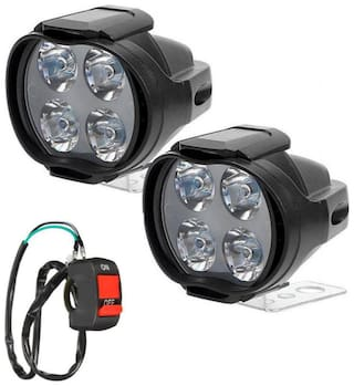 Cartronics-4 LED 12W Car and Bike LED Fog Light Spot Beam Off Road Driving Lamp(Set of 2) with Relay Switch