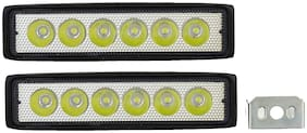 Cartronics 6 LED State Waterproof Fog Light Pack Of 2 for All Bikes And Cars White