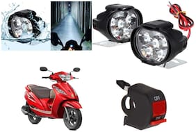 Cartronics 6 LED Silone Fog Light with Switch For TVS Wego