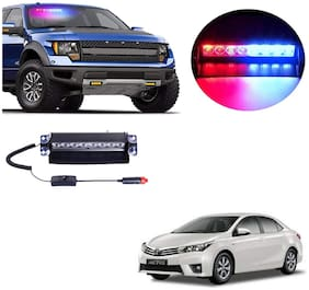Cartronics 8 LED Red Blue Police Flasher Light for Toyota Corolla Altis